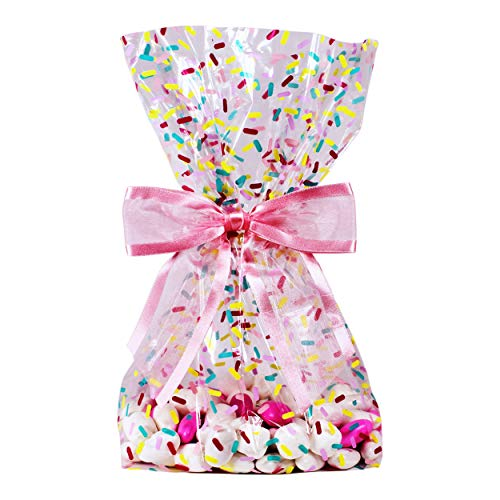 Saybrook Products Donut Sprinkles Cellophane Treat/Party Favor Bags with Hot Pink Twist-Tie Organza Bow. Set of 10 Ready-to-Use, Gussetted 11x5x3 Goodie Bags with Bows. Multi-Color]()