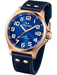 TW Steel Pilot TW404 Men's 45MM Rose Gold & Blue Leather Watch