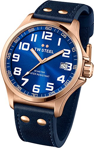 TW-Steel-Pilot-Sunray-Blue-Dial-Rose-Gold-PVD-Steel-Blue-Leather-Mens-Watch-TW404