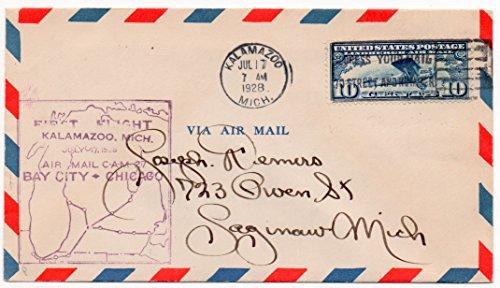 US First Flight Air Mail Postal Cover 1928 Kalamazoo Mich. July 17,1928 Scott #C10