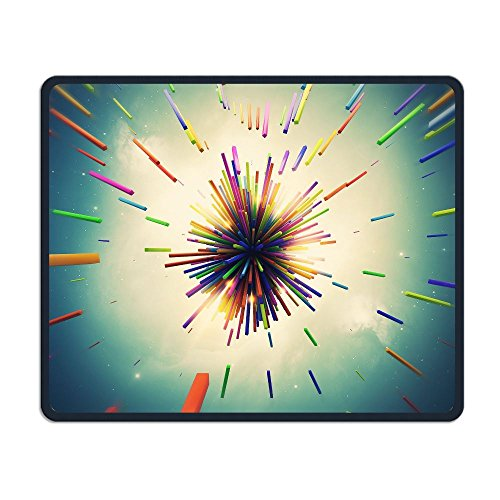 Computer Gaming Mouse Pad Color Radiation Picture Laptop Pad Non-Slip Rubber Stitched Edges 11.8 X 9.8 Inch ()