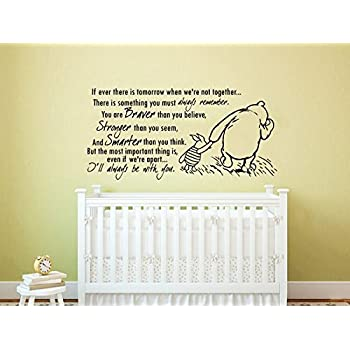 Quote Wall Decal Vinyl Sticker Decals Quotes Winnie The Pooh Quote   Braver  Stronger Smarter   Part 53