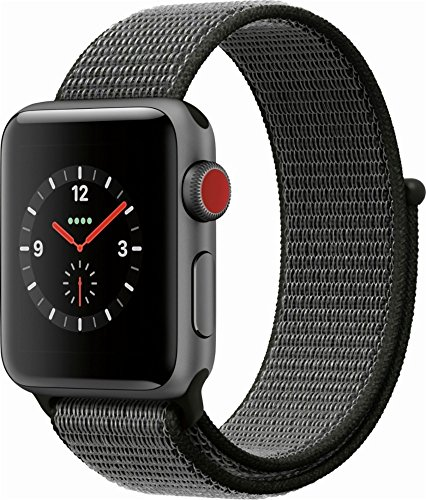 Apple Watch Series 3  Gps   Cellular  Mqjt2ll A 38Mm Space Gray Aluminum Case With Dark Olive Sport Loop