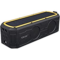 Solar Bluetooth Speaker, GRDE Portable Wireless Bluetooth Speaker with 4400mAh Power Bank, 55 Hour Playtime, Dual Driver Speakers with Mic, Superior Stereo Sound with Bass, IPX5 Water Resistance