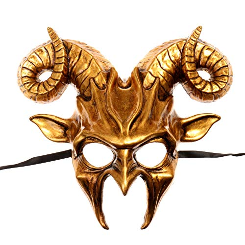 ILOVEMASKS Krampus Ram Demon with Horns Devil Halloween Mask - Metallic Gold ()