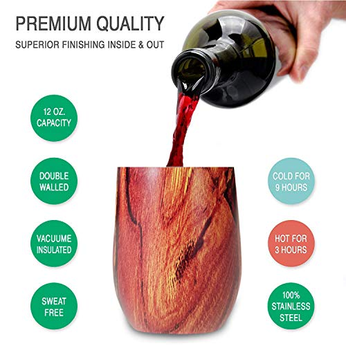 Zen lnspired Wood & Bamboo Print Double Insulated Stainless Steel Wine Tumbler, Environmental Friendly, Unbreakable Perfect For Wine, Coffee, Tea, Indoor Or Outdoor, Bonus Pack 2 In A Set, 12oz by Glorifiv (Image #3)