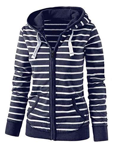 Kaimu Women Casual Hooded Neck Long Sleeve Striped Print Zipper Closure Sweatshirt Hoodies & Sweatshirts