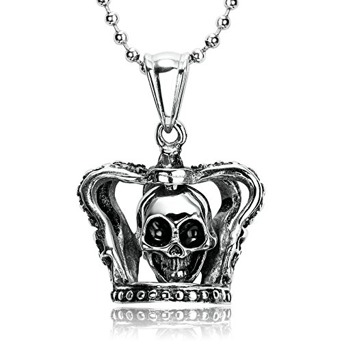Bishilin Pendant for Men Stainless Steel Crown Skull Pendant for Men Hip Hop Silver Black