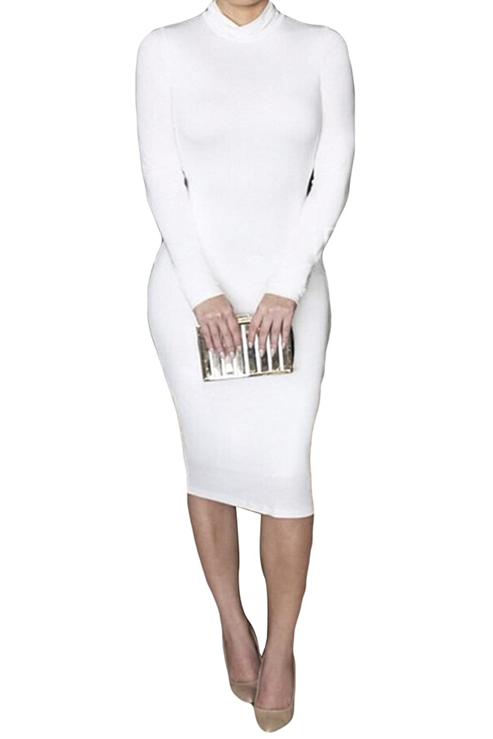 Pink Queen@ Womens Turtleneck Long Sleeve Mid Length Bodycon Bandage Dress