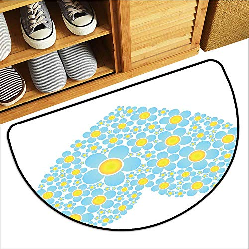 (Axbkl Outdoor Doormat Yellow and Blue Heart Shape Full of Cute Daisy Flowers Romantic Valentines Wedding Quick and Easy to Clean W36 xL24 Light Blue)