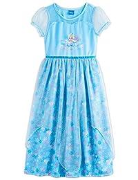 Disney Frozen Elsa Anna Girl's Fantasy Gown Nightgown Pajamas (8, Blue)