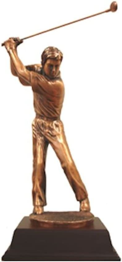 12 Inch Small Copper Male Golfer with Putter Teeing Off Display Statue 12 StealStreet SS-BA-C1368E