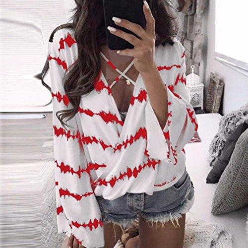 Chevauchement Shirt en Haut ~ Taille Chiffon Wolfleague V Casual Manche Grande T Chemisier Blouse XXXL Femmes Shirts Rouge Fille Col S Vrac Chemises Sexy Longue Ray aaZqAf