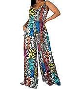 Women Print Maxi Jumpsuit V Neck Sleeveless Casual Wide Leg Pants Long Romper