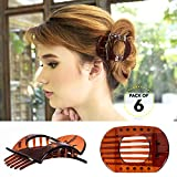 Bleaching Hair At Home - RC ROCHE ORNAMENT Womens Square Strong Grip Secure Hold Inner Teeth Styling Plastic Comfortable Curve No Slip Beauty Accessory Girls Ladies Claw Clamp Clip, 6 Pack Count Medium Brown