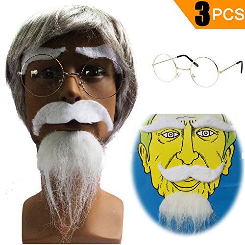 Old Man Costume Kit - Grumpy Rude Grandpa Wig,Grandpa Glasses,Fake Eyebrows & -