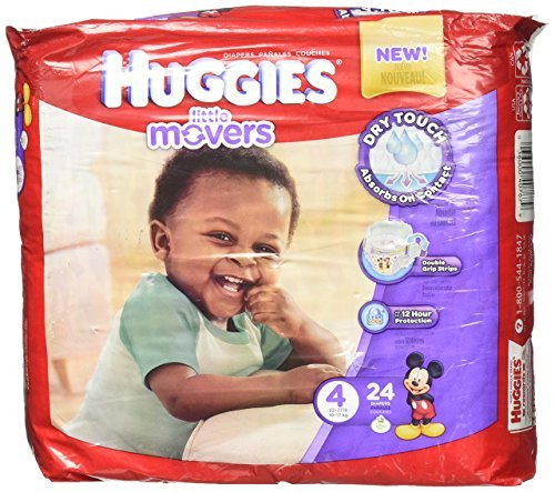Kimberly-Clark 40767 Huggies Little Mover Ultra trim Diaper, Size 4, 22-37 lbs. (Pack of 96)
