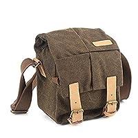 BESTEK Waterproof Canvas SLR DSLR Camera Shoulder Bag Vintage Messenger Bag Gadget Bag with Shockproof Insert Brown