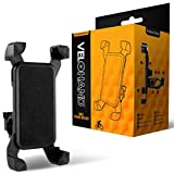 Universal Bike Phone Mount by VeloHand. Bicycle Cell Phone Holder. Easily Fitted to Handlebars of Road, Mountain or Exercise Bikes. Adjustable Cradle Securely Fits Most Mobile Phones