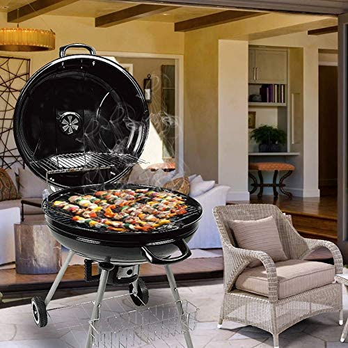 ZZX Barbecue à Charbon Rond, Portable Acier Inoxydable BBQ