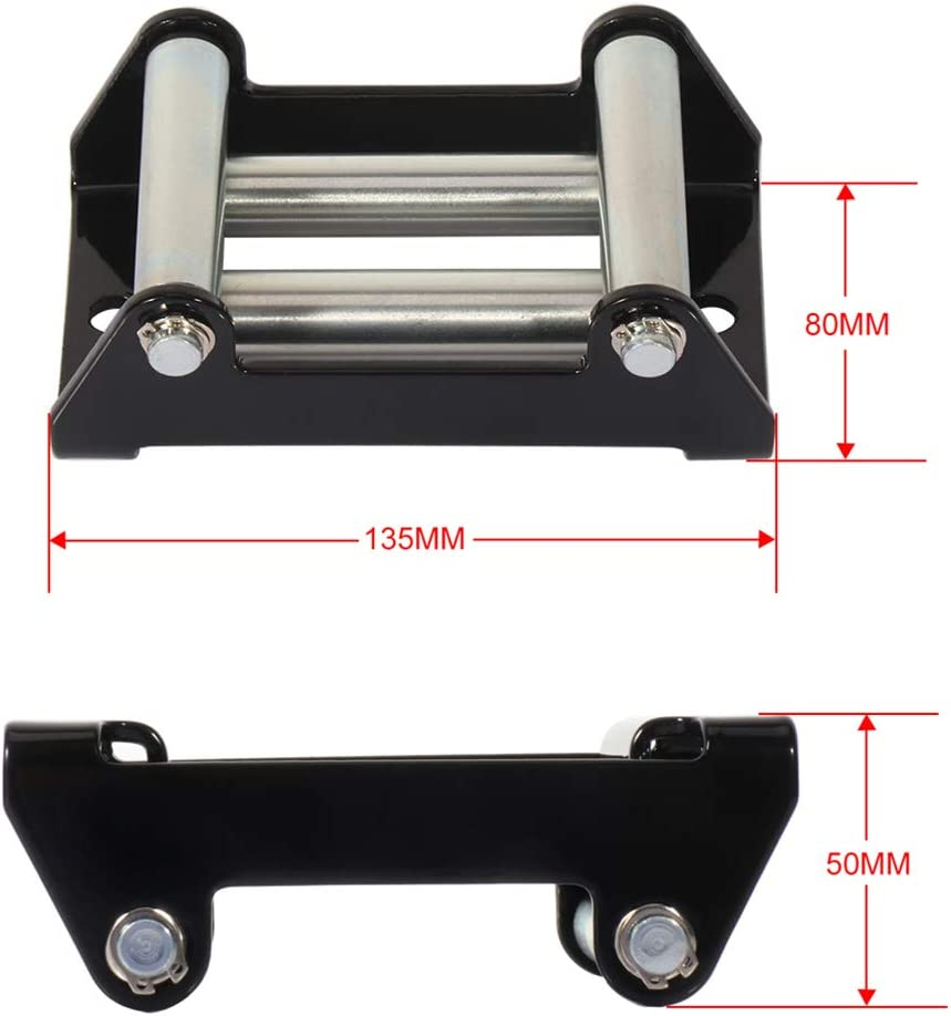 8000-17000 lb 4-Way Roller Wire Cable Guide OCPTY Roller Fairlead 1pcs Winch Roller Fairlead 10 Bolt Pattern for Recovery Off Road Truck