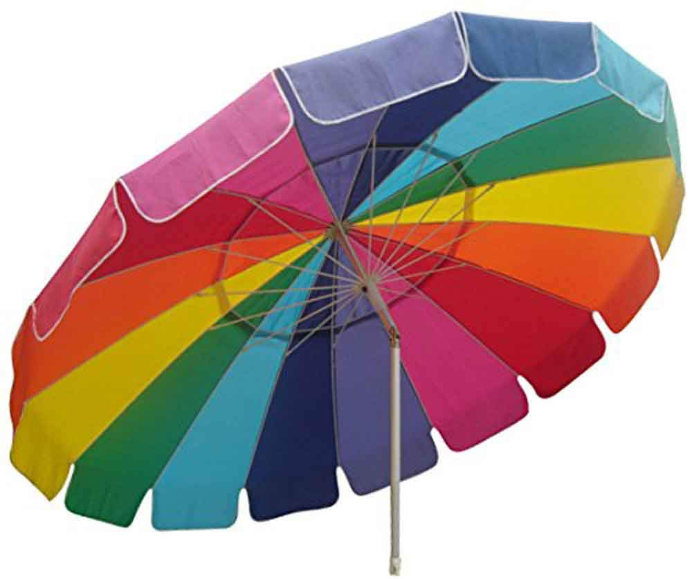 Impact Canopy 8' Beach Umbrella, UV Protected, Vented, Tilt Pole, Sand Anchor, Carry Bag, Rainbow by Impact Canopy