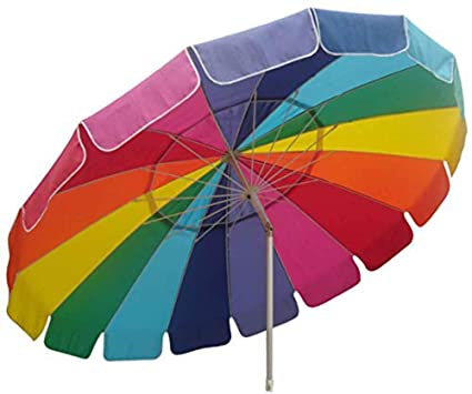 Impact Canopy Beach Umbrella with Sand Anchor, UV Protected Vented Outdoor Beach Shade, 8 Ft, Rainbow, Carry Bag