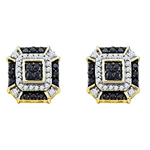 10kt Yellow Gold Womens Round Black Colored Diamond Square Geometric Cluster Earrings 1/2 Cttw