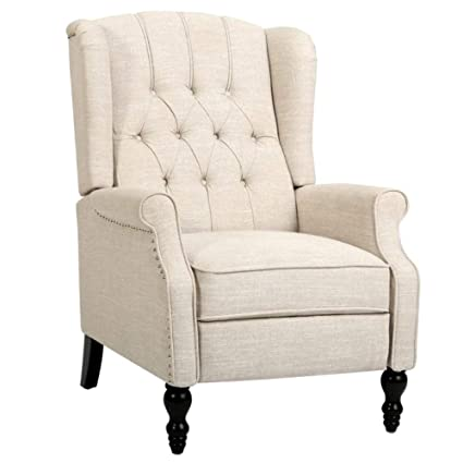Amazon Wingback Recliner Chair Accent Light Beige Tufted Fabric
