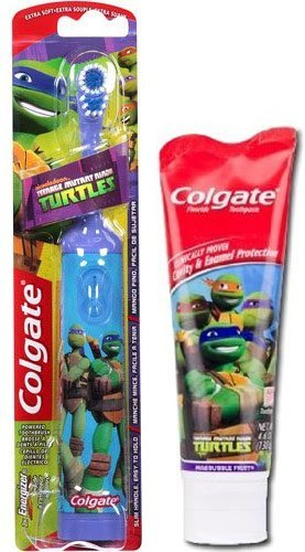 Ready…Set…Brush! 2 Piece Set Includes: (1) Colgate Nickelodeon Teenage Mutant Ninja Turtles Spin Powered Toothbrush & (1) Colgate Children's Teenage Mutant Ninja Turtles Toothpaste, 4.6 oz – Ages 3+