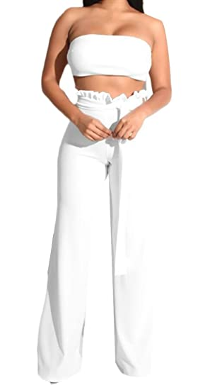 6444c83621 WSPLYSPJY Women's Two Piece Sexy Bandeau Top High Waist Wide Leg Pants Set  Jumpsuit Outfits at Amazon Women's Clothing store: