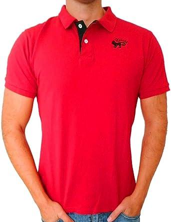 Polo Camisa para Hombre de Manga Corta Kahuna Store Algodón para Surf Skate Snowboard Camiseta Colores de Contraste Rojo y Negro M-XL