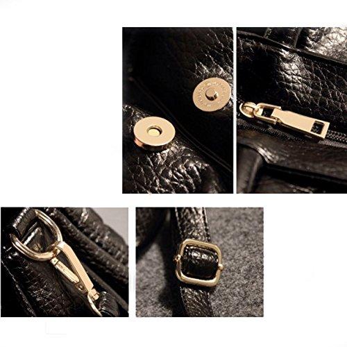 tamaño única inclinación Manera 28cmx6cmx29cm señoras de ocio rombo las bandolera bolso Black Penao 5OvqwO