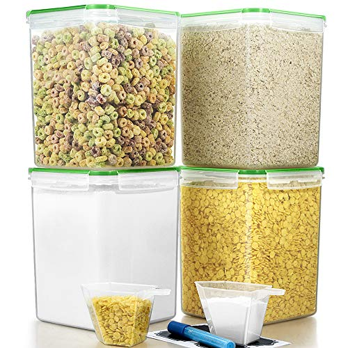 Large Cereal Containers Food Storage Airtight Pantry Containers, Blingco [Set of 4] 5.2L(175oz) Airtight Storage Keeper with Lids for Cereal, Flour, Sugar, Baking Supplies - Leakproof, BPA Free