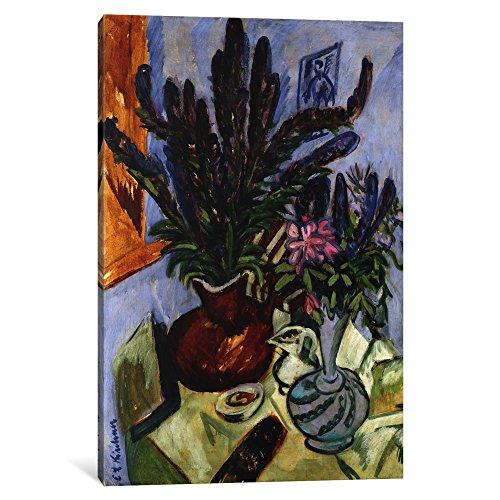 (iCanvasART 1 Piece Still Life with a Vase of Flowers; Stilleben Mit Blumenvasen, 1912 Canvas Print by Ernst Ludwig, 26 by 18
