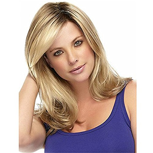 Women's Long Curly Hair Wig Synthetic Lace Front Wigs For Women Gorgeous Long Layered Wavy Blonde Wig With Bangs
