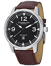 Stuhrling Original Men's 1129Q.01 Aviator Tuskegee Condor Swiss Quartz Date Brown Leather Strap Watch