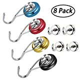 JANSANE 4 Pack Magnetic Swivel Hooks Heavy Duty 30LB Strong Colored Swing Hangers for Utensils BBQ Grill Tools Wreath + 4 Pack Small Hanging Magnet Hooks 12LB for Cruise Refrigerator Kitchen