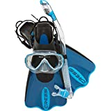 Cressi PALAU SAF, Adult Snorkeling Set, Includes (Palau Short Open Heel Fins, Onda Mask, Supernova Dry Snorkel, and Bag) - Cressi: 100% Made in Italy Since 1946
