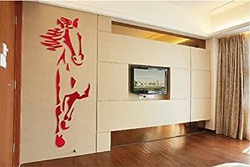 KWXHG 3D Acryl Spiegel Crystal Mauern   Wohnzimmer Wohnzimmer Esszimmer  Schlafzimmer Einrichtung Chinesische Pferd Wandpaneele