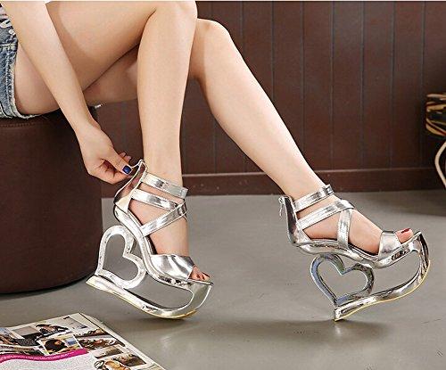 GetmorebeautyUpdate - Zapatos de tacón  mujer plata