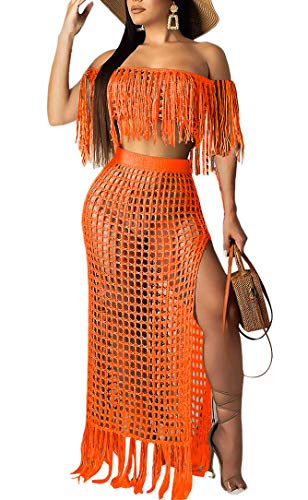 (Aro Lora Women's 2pcs Bikini Swimsuit Cover up Beach Outfits Hollow Out Short Sleeve Crop Top Slit Maxi Skirt Dress Set XXX-Large Orange)