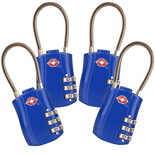 4 Pack TSA Approved Travel Luggage Combination Cable Locks for Suitcases, Backpake (Blue) ()