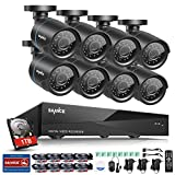 SANNCE 8CH 1080N DVR with 1TB Hard Drive and 8pcs Indoor/ Outdoor 720P Security Cameras System (Smart IR Cut Day Night Vision, Motion Detection Email Alert)