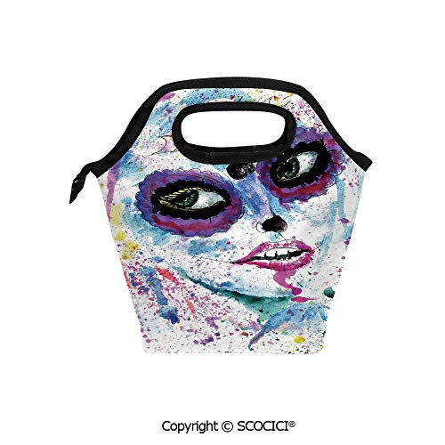 Portable thickening insulation tape Lunch bag Grunge Halloween Lady with Sugar Skull Make Up Creepy Dead Face Gothic Woman Artsy for student cute girls mummy bag. -