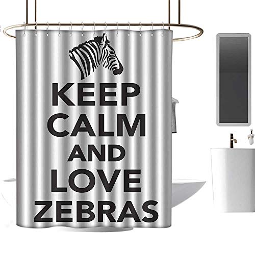 coolteey Shower Curtains Blue and Brown Zebra Print Decor Collection,Keep Calm and Love Zebras Lettering with Zebra Head Pattern Silhouette,Black White,W36 x L72,Shower Curtain for Kids (Zebra Print Footstool)