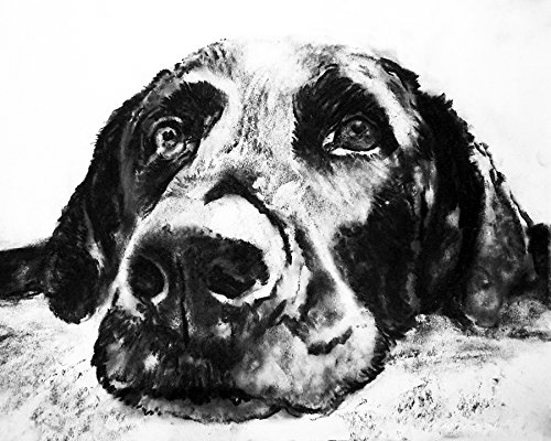 Black Labrador Dog Wall Art Print, Black Lab Charcoal Drawing Artwork, Lab Owner Gift, Lab Dog Art, Dog Wall Art Print, Colorful Labrador Dog Painting Decor