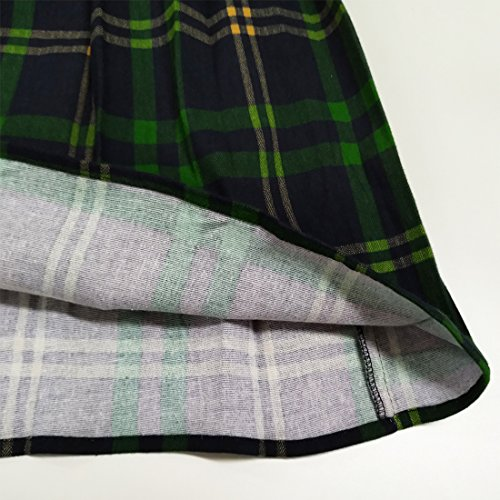 Skirts Plaid Dressever A line Flared Printed Midi Pleated Women's amp;navy Green Vintage xnOqnwzB8S