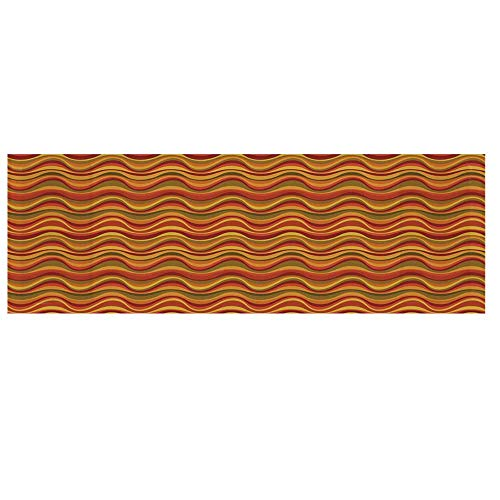 """(Geometric Microwave Oven Cover,Desert Dune Pattern Abstract Design Warm Color Palette Funky Old School Art Style Decorative Cover for Kitchen,36""""L x 12""""W)"""