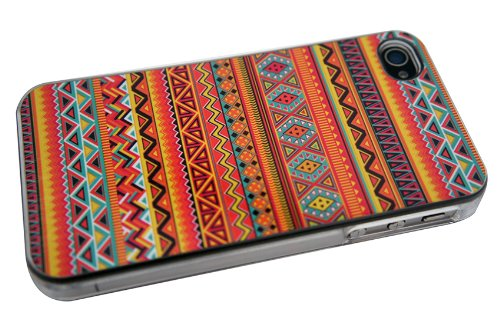 iPhone 4 4S Case cover Hard Gloss Hülle / Classic Aztec Tribal Tribe Fashion Trend Design Case Cover -Clear Y